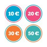 Pieniądze w Euro ikonach Dziesięć, dwadzieścia, pięćdziesiąt EUR Fotografia Royalty Free