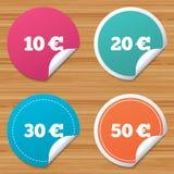 Pieniądze w Euro ikonach Dziesięć, dwadzieścia, pięćdziesiąt EUR Obraz Royalty Free