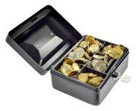 Pieniądze w gotówki pudełku obraz stock