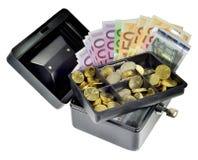 Pieniądze w gotówki pudełku Zdjęcia Royalty Free