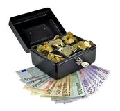 Pieniądze w i gotówkowy pudełko out obrazy stock