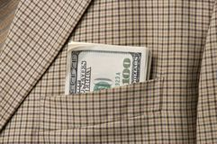 Pieniądze w kieszeni fotografia stock