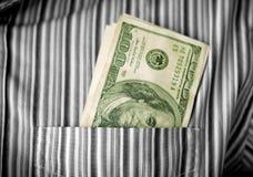 Pieniądze w kieszeni Zdjęcia Stock