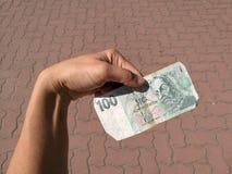Pieniądze w kobiety ręce Zdjęcie Stock