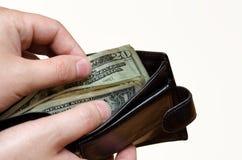 Pieniądze w portfla zakończeniu up Zdjęcia Royalty Free