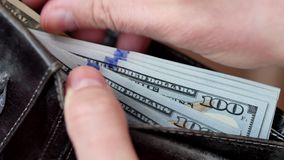 Pieniądze w portflu Mężczyzna liczenia gotówka zbiory wideo
