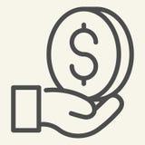 Pieniądze w ręki linii ikonie Dolar w palmowej wektorowej ilustracji odizolowywającej na bielu Menniczy konturu stylu projekt, pr royalty ilustracja