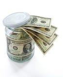 Pieniądze w słoju odizolowywającym na biel zdjęcia stock