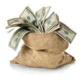 Pieniądze w torbie Zdjęcia Stock