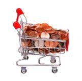 Pieniądze w wózek na zakupy odizolowywającym na bielu Fotografia Stock