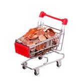 Pieniądze w wózek na zakupy odizolowywającym na bielu Zdjęcie Royalty Free