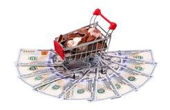 Pieniądze w wózek na zakupy odizolowywającym na bielu Obraz Royalty Free
