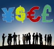 Pieniądze waluty symbolu finanse wymiany pojęcie Fotografia Royalty Free