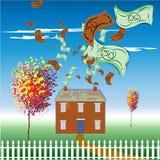 Pieniądze wydający na utrzymaniu dom Zdjęcie Royalty Free