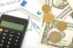 Pieniądze z kalkulatorem fotografia stock