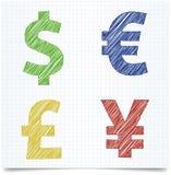 Pieniądze znaka pióra styl Zdjęcie Stock
