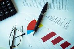 Pieniężna analiza - dochodu oświadczenie, plan biznesowy z szkłem obraz royalty free