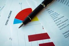 Pieniężna analiza - dochodu oświadczenie, plan biznesowy z szkłem balansowy biznesowy kalkulator sporządzać mapę biurek szkła zdjęcia royalty free