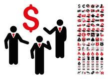 Pieniężna dyskusja biznesmenów Persons ikona z 90 Premiowymi piktogramami royalty ilustracja