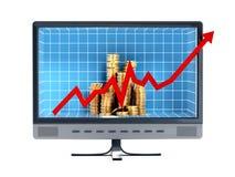 Pieniężna mapa i monety wśrodku komputerowego monitoru Zdjęcie Stock