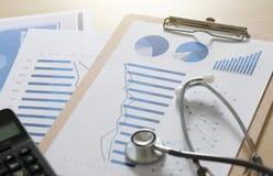 pieniężna raportowa mapa, kalkulatora stetho i raport medyczny i fotografia stock