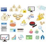 Pieniężne ikony dla sieć projekta ilustracja wektor