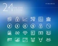 Pieniężne kontur ikony ustawiać Zdjęcia Stock