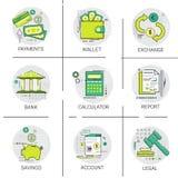 Pieniężny bankowość biznesu Finansowego planowania ikony Online Płatniczy set royalty ilustracja
