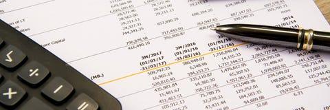Pieniężny budżeta oświadczenie czyta liczbę i sprawdza dla analysi obrazy royalty free