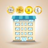 Pieniężny dom waluta finanse gospodarka również zwrócić corel ilustracji wektora Zdjęcie Stock