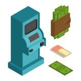 Pieniężny ikona set ATM i gotówka Pieniądze portfel i kredytowa karta Zdjęcia Royalty Free
