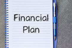 Pieniężny planu teksta pojęcie na notatniku Zdjęcie Stock