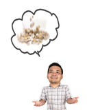 Pieniężny pojęcie z mężczyzna myśleć o pieniądze na białym backgro Obrazy Royalty Free