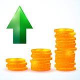 Pieniężny przyrost, monety Zdjęcie Royalty Free