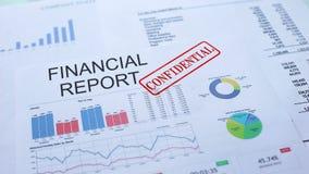 Pieniężny raportowy poufny, stemplujący fokę na urzędowym dokumencie, statystyki zbiory wideo