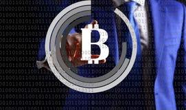 Pieniężny technologii pojęcie, bitcoin cryptocurrency fotografia royalty free