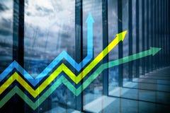 Pieniężny wzrostowy strzała wykres Inwestycja i handlarski pojęcie zdjęcie stock