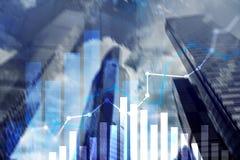 Pieniężny wzrostowy wykres Sprzedaże wzrastają, strategii marketingowej pojęcie Zdjęcie Royalty Free