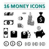 16 pieniędzy ikon ustawiających Fotografia Royalty Free