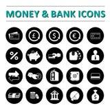 Pieniądze & banka ikony Fotografia Royalty Free