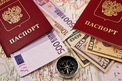 pieniądze cyrklowy paszport dwa obrazy stock
