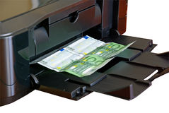 pieniądze drukarki druk Obrazy Stock
