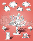 Pieniądze drzewne i biznesowe ilustracje Zdjęcia Royalty Free