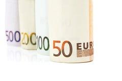 Pieniądze euro banknoty Zdjęcia Stock