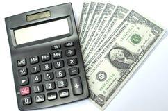 Pieniądze i kalkulator Zdjęcia Royalty Free