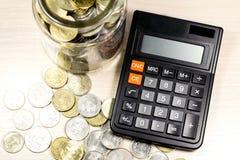 Pieniądze i kalkulator zdjęcie stock