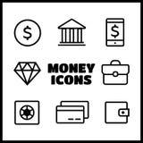 Pieniądze ikony Finansowej ikony kreskowy styl Zdjęcie Royalty Free