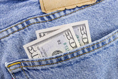 Pieniądze, kawowe fasole i cajgi, Zdjęcie Stock