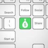 Pieniądze klucz na klawiaturze Fotografia Royalty Free