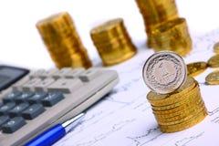 Pieniądze monety, kalkulator Zdjęcie Stock